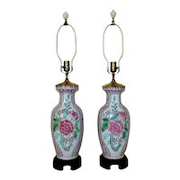 Pair of Chinoiserie Floral Table Lamps Asian Oriental Chinese Mid Century Modern
