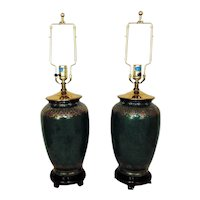 Pair of Green Table Lamps Vase Form Chinoiserie