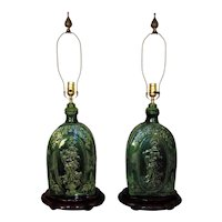 Pair of Antique Chinese Table Lamps w/ Angels Green Asian Oriental Majolica Style