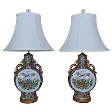 Pair Chinese Table Lamps Famille Rose Medallion Moon Flask Vases Chinoiserie Asian Oriental