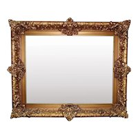 """Antique Picture Frame Gilt Wood & Gesso for Portrait Painting Print or Mirror 11"""" x 14"""" Rabbet Opening"""