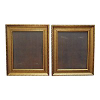 """Pair of Gold Picture Frames for Portraits Paintings Prints or Mirrors 20"""" x 16"""" Rabbet Opening"""