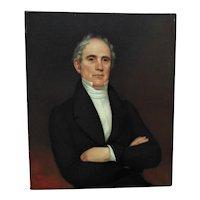 19th c. Oil Portrait Painting of a Gentleman Man Antique Victorian