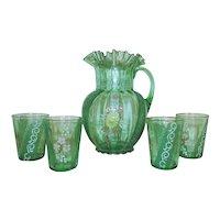 Antique Victorian Green Glass Water / Lemonade Set Pitcher & 4 Glasses
