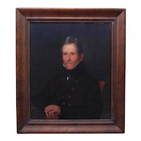 19th c. Self Portrait Oil Painting of Bass Otis Gentleman Man Antique Victorian