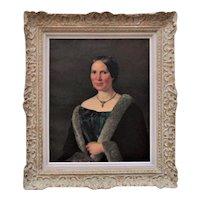 19th c. Portrait Oil Painting of a Lady Woman Antique Victorian