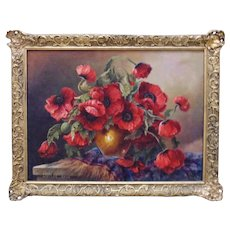 Walter Keul Still Life Oil Painting Floral Flowers Red Poppies