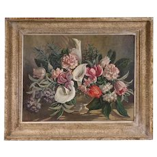 Carle John Blenner Still Life Oil Painting Flowers Floral Calla Lilies Mid Century Modern