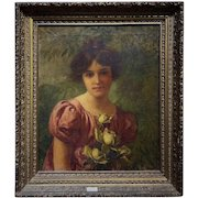 Art Nouveau Portrait Oil Painting of Girl Woman with Roses Signed Frederick James Boston Antique