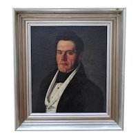 19th c. Portrait Oil Painting of a Handsome Gentleman Man