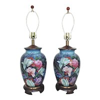 Pair of Frederick Cooper Table Lamps Floral Flowers