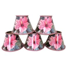 Set of 5 Clip-On Miniature Lamp Shades for Chandelier Candlestick Sconces Hibiscus Floral Flowers