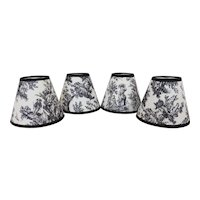 Set of 4 Clip-On Miniature Lamp Shades for Chandelier Candlestick Sconces in Black & White Toile