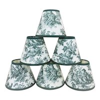 Set of 6 Clip-On Miniature Lamp Shades for Chandelier Candlestick Sconces in Forest Green Toile