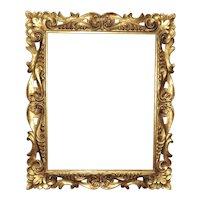 "Ornate Gilt Wood Picture Frame 19 3/4"" x 15 3/4"" Rabbet Opening Italian Florentine"