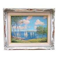 Impressionist Seascape Oil Painting w/ Boats Signed D. Greenwood