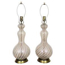 Pair Murano Glass Latticino Table Lamps Gold & White Twisted Ribbon Mid Century Modern Italian