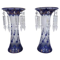 AMAZING Pair of French Vases / Mantle Lusters Cobalt Blue Cut Cameo Glass Chipped Ice
