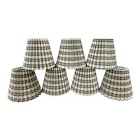 Set of 7 Clip-On Pleated Miniature Lamp Shades for Chandelier Candlestick Sconces  Plaid Fabric