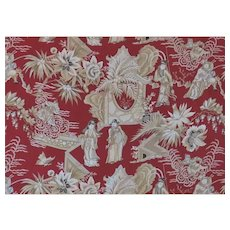 """28 Yards Clarence House Cotton Designer Fabric """"Opera Chinoise"""" Asian Chinoiserie"""