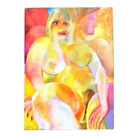John Ivor Stewart Portrait Reclining Nude Woman w/ Man Abstract Expressionist Acrylic Painting Modernism
