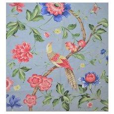"1.5 Yards Scalamandre Vintage Designer Fabric w/ Birds Linen Blend in Blue ""Orienteaux"""