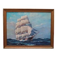 Vintage Nautical Oil Painting of a Sailing Ship Signed Bruce Ritchie