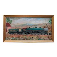 Vintage Oil Painting of a Train Locomotive Southern Pacific Lines Signed T. Davis