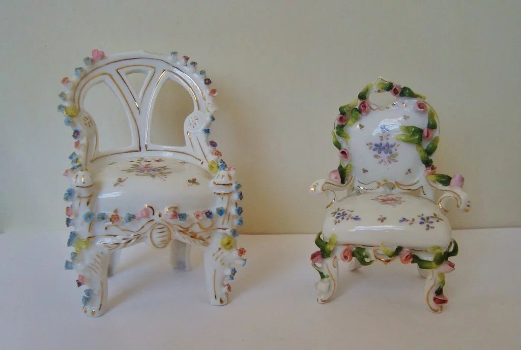 2 Antique Miniature Doll House Chairs Furniture German