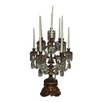 """Antique French Bronze Candelabra Candelabrum Stunning LARGE 28"""" Tall MUSEUM QUALITY 19c Louis XV Rococo Candle Holders w/ Prisms Lusters Lustres Table Chandelier"""