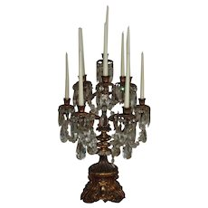 "Antique French Bronze Candelabra Candelabrum Stunning LARGE 28"" Tall MUSEUM QUALITY 19c Louis XV Rococo Candle Holders w/ Prisms Lusters Lustres Table Chandelier"