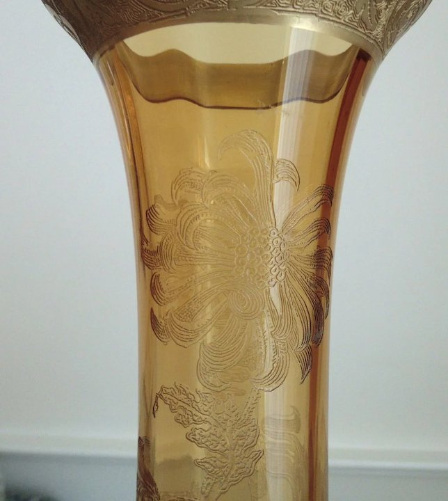 Antique Glass Vase 19c Victorian Acid Etched Amber Aesthetic