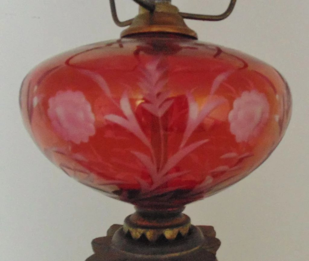 Bohemian Ruby Red Glass Oil Lamp Acid Etched Floral