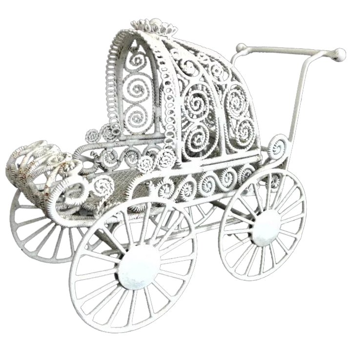 vintage doll house baby pram stroller buggy carriage white