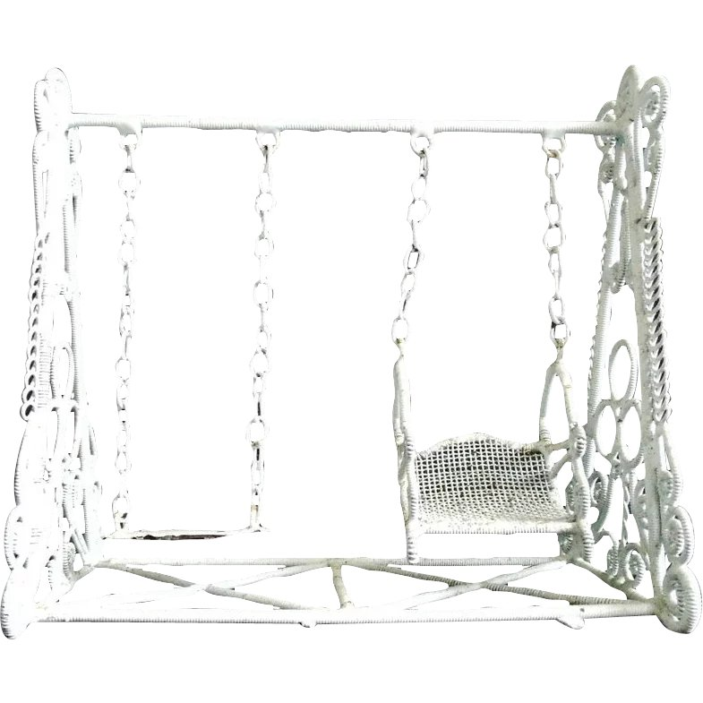 vintage doll house swing set white curled wire wicker