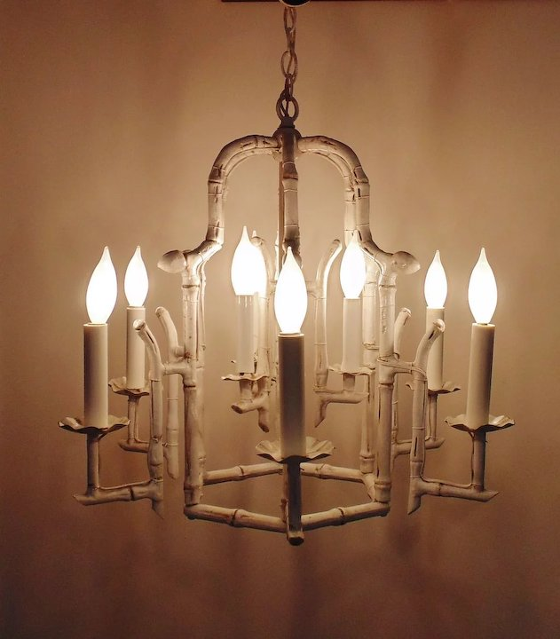 Unique Modern Faux Bamboo Pagoda Chandelier Hollywood Regency 9 Light  AW86