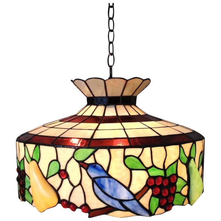 LARGE Stained Glass Chandelier Birds & Fruit Light Fixture - LARGE Stained Glass Chandelier Birds Fruit Light Fixture SOLD Ruby