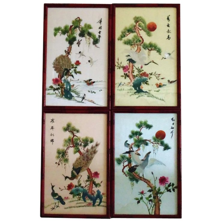 4 Japanese Or Chinese Silk Embroidery Panels Embroidered Birds