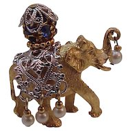 Vintage Napier Jeweled Elephant Pin Brooch