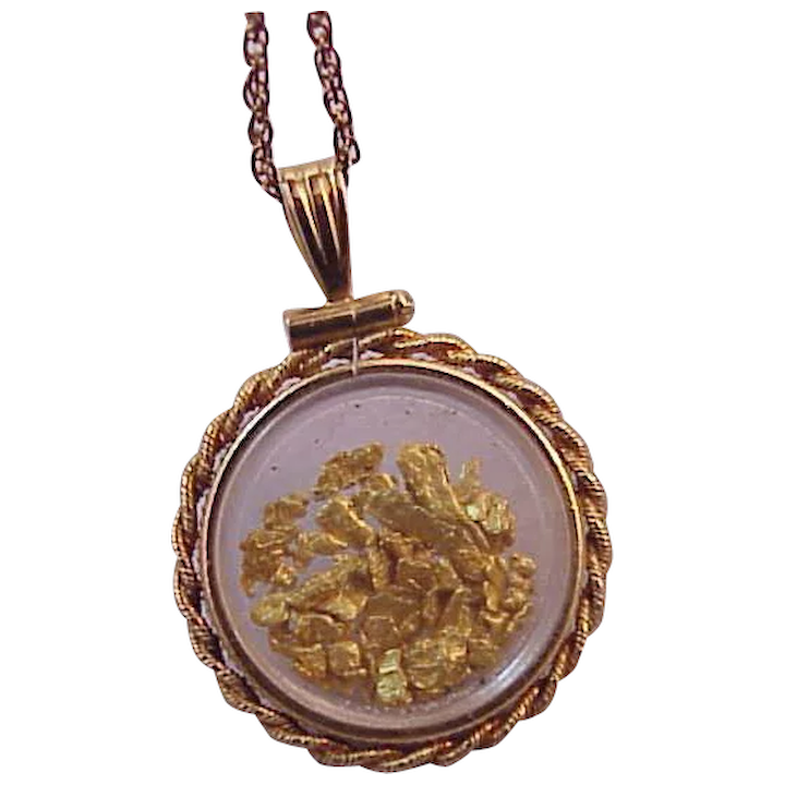 63909232cada4 Vintage Gold Filled Gold Nuggets Flakes pendant Necklace