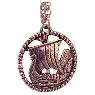 Vintage Stopt Tinn Norway Pewter Pendant necklace