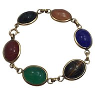 Vintage gemstones Scarab 14 Kt Gold Filled Bracelet