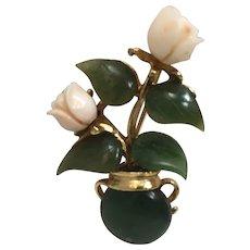 Vintage Swoboda Genuine Jade and Coral Pin Brooch