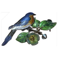 Vintage Sterling Silver Enamel Bird On A  Tree Brooch Pin