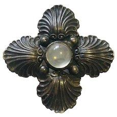 Vintage C. Ruopoli Sterling Silver Moonstones Brooch Pin