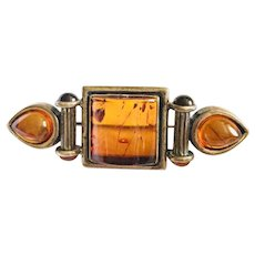 Vintage Genuine Amber Sterling Pin Brooch