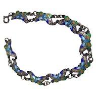 Vintage Silver Enamel Butterfly Bracelet