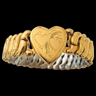 Vintage Sweetheart Stretch Bracelet Signed  La Mode