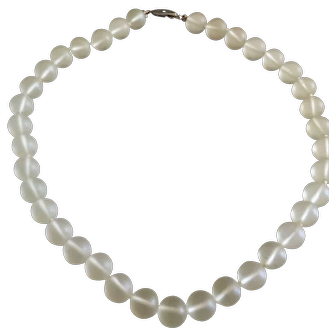 Vintage Frosted Glass Beads Necklace