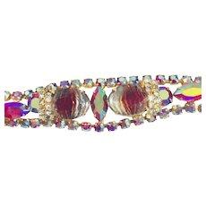 Vintage  Red Rhinestones  And Givre Glass Bracelet